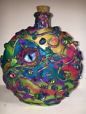 HALLOWEEN  POLYMER CLAY DRAGONS EYE POSITION BOTTLE SCULPTURE HANDMADE OOAK