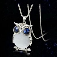 """1X Charms Cute Crystal Owl Pendant 27"""" Long Women Sweater Chain Necklace Jewelry"""