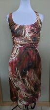 NWOT David Meister Satin Dress Empire Waist Multicolor Cross Back Camo Paint 2