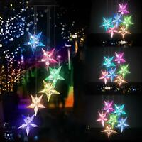 Color Changing Star Wind Chime Spiral Spinner Wind Mobile Wind Bell Solar Lights