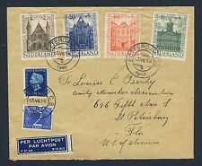 NETHERLANDS 1948 Historic Building Set Mi #503-506 ON COVER to USA