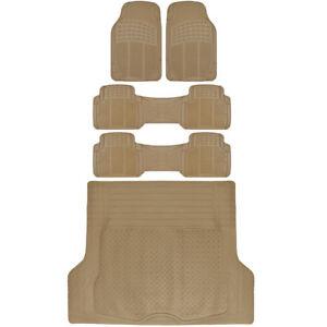 All Weather 5 Piece Rubber Floor Mats 3 Row Trunk Cargo Mat Trimmable Beige⭐⭐⭐⭐⭐