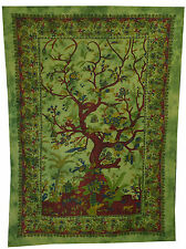 GREEN TREE of LIFE INDIAN WALL HANGING TAPESTRY BEDSPREAD THROW Dorm Decor Art