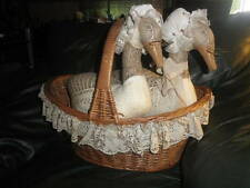 Vtg 2 Canadian Geese with glasses Sitting in a Wicker Basket