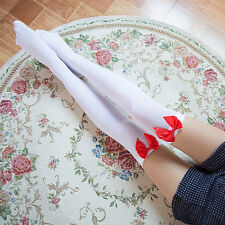Girl Stretchy Meias Over The Knee High Socks Stockings Tights With Bows Thigh 5H