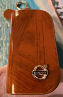 """Brown Leather """"Volvo"""" Car Keyholder Ring Keychain Case Holder Zipped Bag purse"""