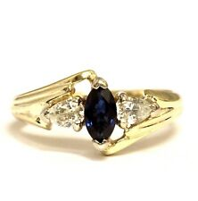 14k yellow gold .30ct VS1 G diamond marquise sapphire ring 4.3g womens estate