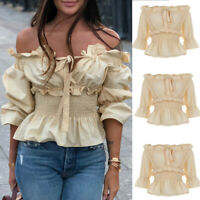 Women Lace-Up Gothic Tops Summer Steampunk Off Shoulder Casual Shirt Blouse