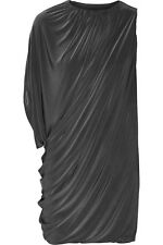 NWT T-Bags Los Angeles Black Asymmetric Draped Stretch Satin Jersey Mini Dress S