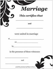 Classic Damask Marriage Certificate
