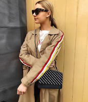 ZARA MID-CAMEL FLOWING SHIRT COLLAR BELTED MAC TRENCH COAT WITH STRIPE TRIMS S-M