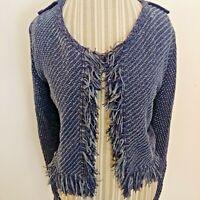 WHBM Womens Blue Chunky Knit Open Front Cardigan Fringe Sweater Cotton Medium