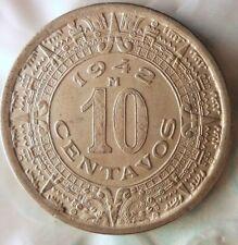 1942 MEXICO 10 CENTAVOS - Mayan Calendar - Great Coin - FREE SHIP - Mex Bin #3