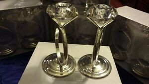 Lot of Two (2) Lillian Rose Diamond Candle Holder