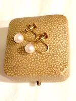 Vintage CIRO of London 9ct Gold & Pearl Screw-back Earrings in Original Box