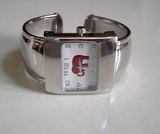 Silver finish good luck charm fashion Red Elephant women's cuff bangle watch