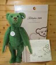Steiff Bear 408540 1908 Green Teddy Limited Edition #00572/3000 w/Growler