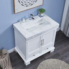 36-inch Bathroom Single Vanity Cabinet - Carrara White Marble Ramp Sink Top