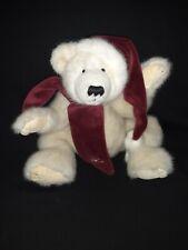 """Boyds Polar Bear """"Klondike""""~ Retired~ Velvet Santa Hat & Scarf~ GUC~ 1988-2000"""