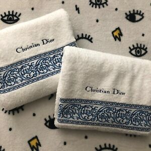 Plush CHRISTIAN DIOR  bath towel set. Retro white with blue embroidery. Clean.