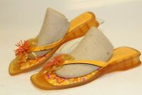 Ozone Italy Made Womens 10 M Orange Jelly Flip Flops Thongs Sandals Heels Shoes