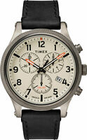 Timex TW2T32700 Men's Analog Chronograph Watch Black Leather Strap