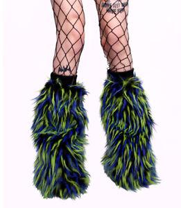 CYBERLOXSHOP BLACK GREEN BLUE FLUFFY LEG WARMERS FLUFFIES NEON UV RAVE CLUBWEAR