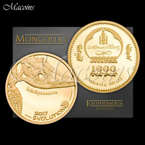 ICHTHYOSAURIA EVOLUTION SERIES 2016 MONGOLIA 1/2 GRAM 9999 PURE GOLD PROOF COIN