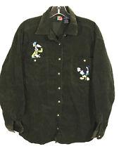 Goofy Mickey Unlimited Bird Watching Sewn Corduroy Brown Button Shirt Womens S