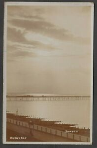 Postcard Herne Bay nr Whitstable Kent view of the Pier at Sunset early RP