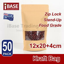 Stand Up Bag Kraft Paper Seal Packaging Window Zip Lock Pouch Food Sealing Brown