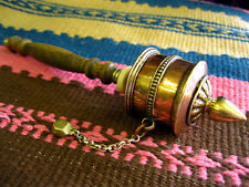 TIBETAN PRAYER WHEEL Small 20cm BUDDHIST BRASS Om Mani Mantra MEDITATION NEPAL
