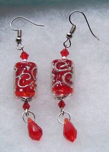 RED AND SILVER LAMPWORK GLASS EARRINGS