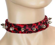 Red Fuzzy Spike Choker Animal Fabric Leopard Red Punk Goth Rockabilly