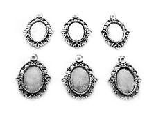 6 Antiqued Silvertone DELLA Style 18mm x 13mm CAMEO PENDANTS Frames Settings