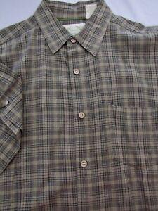Green Bamboo Plaid Cotton Blend S/S shirt Size M