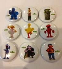 NEW Lot of 9 Sesame Street Badges - 3cms diameter - for party loot bags favours