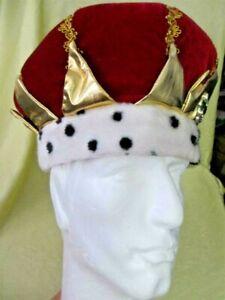 Plush red velvet KING crown dalmatian print brim gold accents oversize hat cap