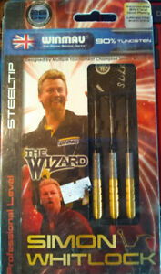 SIMON WHITLOCK STEEL TIP DARTS 26 GRAM 90%TUNGSTEN WINMAU 24KT GOLD PLATING