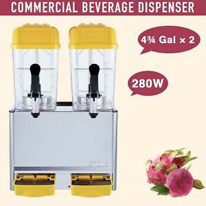 Commercial 4.75 gal*2 Tank Frozen Juice Beverage Dispenser Fruit Tea Cold Drink