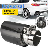 2.5'' 63mm In 89mm Out Carbon Fiber Car Exhaust Tail Tip Pipe Muffler