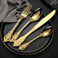Stainless Steel Vintage Carved Tableware Set Knife Spoon Fork Royal Cutlery