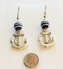 Silver-tone Nautical Anchor with Blue and White Bead Dangling Hook Earrings