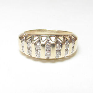 LEER GEMS 10K Yellow Gold Baguette And Brilliant Cut Diamond Ring 0.50 Cts