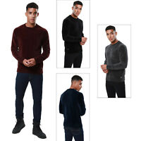 Threadbare Mens Chenille Knitted Jumper Crew Neck Winter Sweater Pullover Top