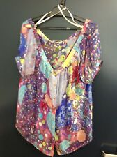REDUCED!! COVERS MULTI COLOURED V-NECK SILK S/SLEEVE LOOSE FIT TOP SZ 14  14 EUC