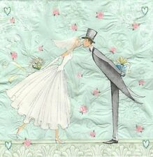 2 Serviettes en papier gaufrées Mariage Mariés Paper Napkins Bride and groom