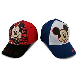 Red//Black Age 2-7 Disney Little Boys Mickey Mouse Character Cotton Baseball Cap