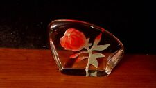 VINTAGE reverse carved frosted rose HEAVY paperweight  D1