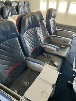 Authentic 747-700 Aircraft Row of 4 Comfort Seats w/TRAYS In The Armrests.